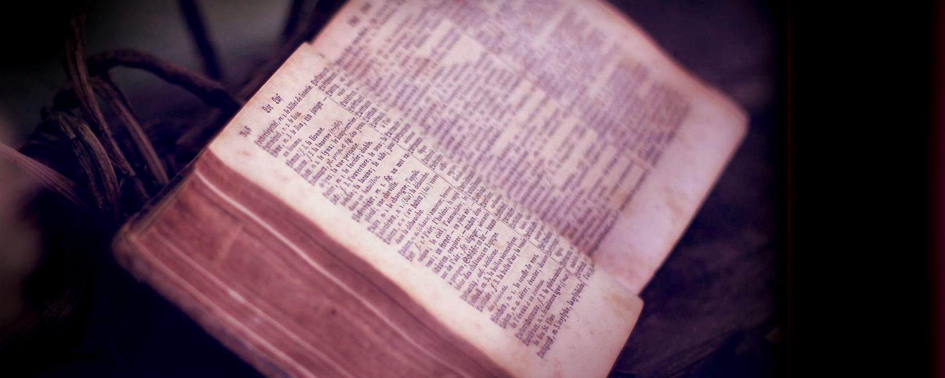 Bild på en gammal bok, från sidan